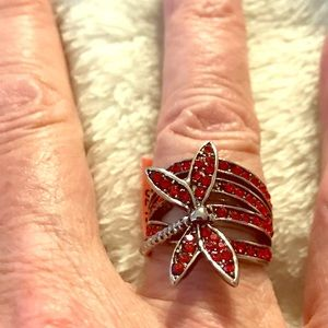1 Red & 1 Green Australian crystal dragonfly ring
